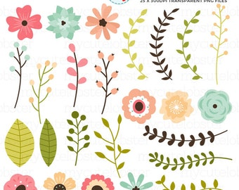 Flowers Clipart Set - clip art set of flowers, laurels, buds, florals, wedding - personal use, small commercial use, instant download