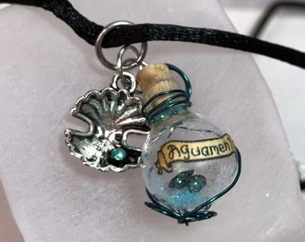 Aguamenti, Magic Spell, Water Charm, Necklace with Silver Clam Shell Charm