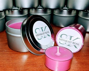 Scented Soy Votive Candle - Midnight Rose | Scented Candles | Handmade | Hand Poured | Cruelty Free | Gift Ideas | Pink Candles | Floral