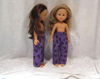 "LES CHERIES Corolle 13"" Dolls Handmade Elastic Waist Pants #P01 Purple Elastic Waist Halloween PANTS with Black Cats"