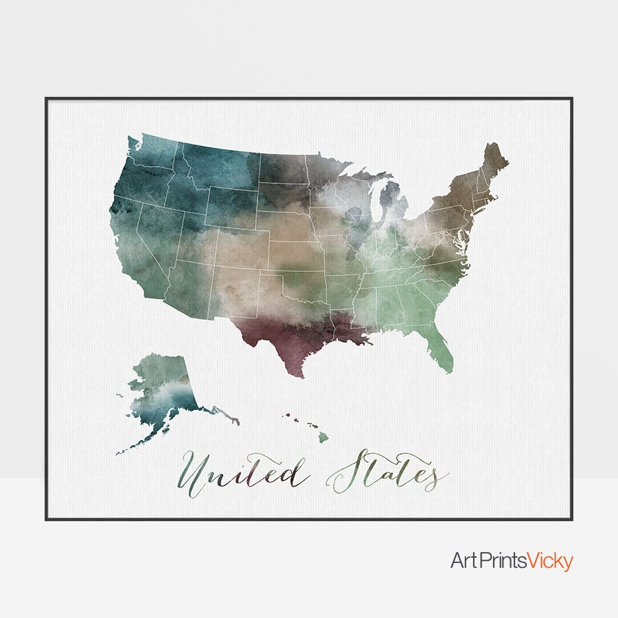 United States print travel map US poster United States map USA