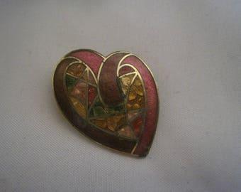 Enamel Heart Brooch