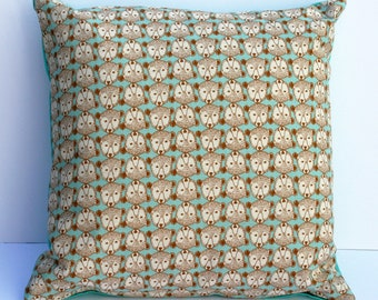 SALE Scandinavian style bear print cushion in turquoise