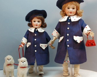 Bleuette and Rosette patterns for doll clothing - Walk in the Park - Dresses, coats and hats, mid 1950's styles.