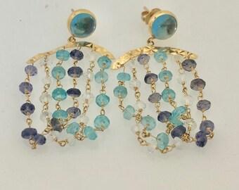 14K Yellow Gold Multi Colored Stones Dangle Earrings