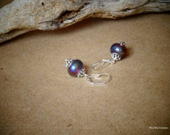 Pink earrings glass bead Lampwork highlights