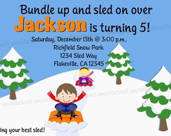 Items similar to Sled Winter Sledding Party Invitation Watercolor