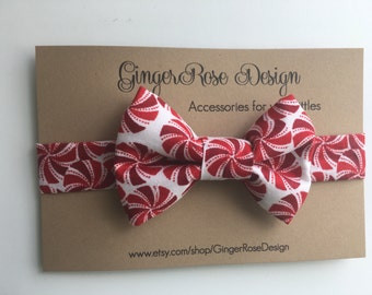 Peppermint Bow Tie; Christmas Bow Tie;  Holiday Bow Tie; Red and White Bow Tie; Candy Cane Bow Tie; Boy's Bow Tie; Baby Bow Tie