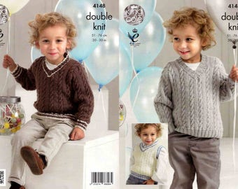 King Cole Knitting Pattern 4148~Sweaters & Slipover~DK~20-30""