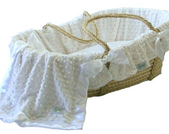 Moses basket liner ONLY Minky Dot Fabric