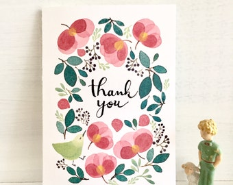 Thank you card, card with watercolour illustration, bird thank you card, flowers greeting card, floral thank you card
