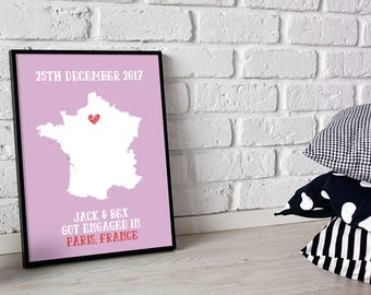 Personalised Engagement Gift Custom Print Poster Add Proposal Location, Date And Names Of The Couple Various Sizes Available