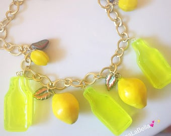 Lemon Necklace, Fruit Salad Necklace, Lemonade Necklace, Vintage Style, Retro Style Necklace, Pinup Necklace, Resin Jewelry, Plastic Jewelry