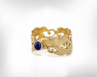 Sapphire Ring, Birthstone Ring Gold, September Birthstone, Anniversary Ring For Her, Birthstone Ring Gift, Gemstone Ring Gold, Free Shipping