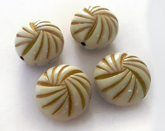 23x16mm Antique Ivory beige Gold line knot enlaced puff coin round acrylic beads 6pcs