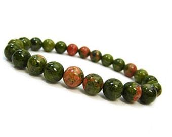 10mm Unakite Bracelet, Green Mala Beads Bracelet,10mm Unakite Jewelry, Green Beaded Bracelet Womens, Mens Bead Bracelet, Stretch Bracelet