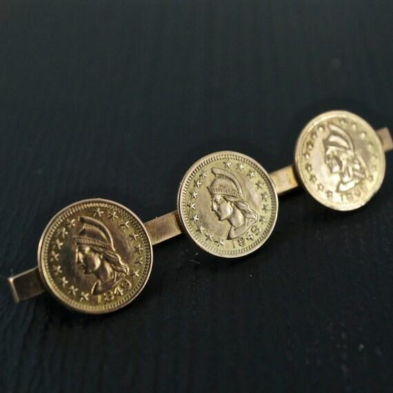 1848 CALIFORNIA GOLD Coin Brooch 14k 10kt Gold RushCoin