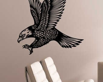 Flying Eagle Wall Art Decal Bird of Prey Sticker Animal Decorations for Home Living Kids Room Bedroom Dorm Wildlife Decor egl15
