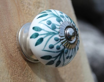 White Ceramic Drawer Knobs - Cabinet knobs with Teal Embossed Pattern (CK36)