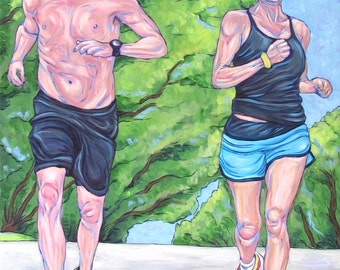 """Custom Portrait Painting in Acrylic on Canvas 18"""" x 14"""" of Two People or Children. Runners Portraiture Sample Shown. OOAK Art Ready to Hang"""