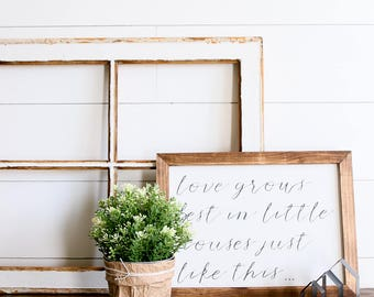 FREE SHIPPING Love Grows Best Farmhouse Style Rustic Wood Sign, Handmade, Inspirational Quote, Shabby Chic