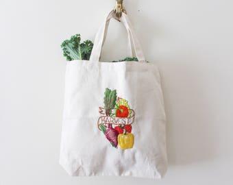 Zero Waste Market Grocery Canvas Tote Bag, Reuseable Shopper Bag, Embroidered Veggies Vegetables, Eco- Friendly Market Bag, Vegan