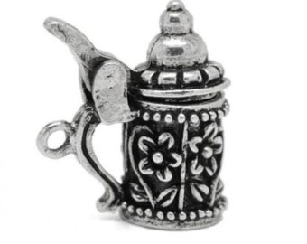 Beer Stein Charm - Utensil Pendant - DIY Charm - Antique Silver - Jewelry Supplies - Pewter Necklace Charm - German - Beer - Container