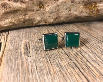 French Cufflinks: Green Jade, 14/17mm square