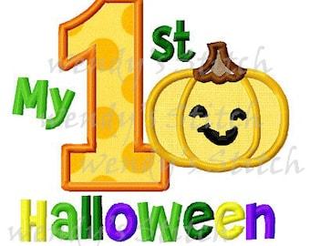 My 1st halloween pumpkin jack o lantern applique machine embroidery design