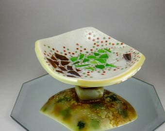 Handcrafted Sea Glass Valet - Brown Green Pearl White Copper Bowl Nautical Home Decor No. 144