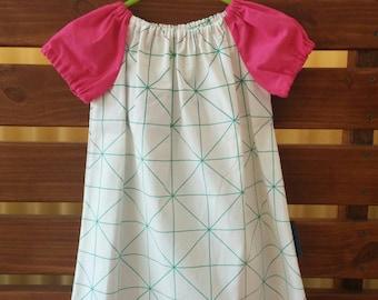 Girls Peasant Style Dress. Stripes in Aqua. Size 2.