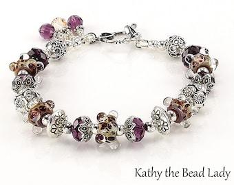 Lampwork Bracelet - Lampwork Boro Purple and Ivory Karen Hill Tribe Bead Bracelet - KTBL
