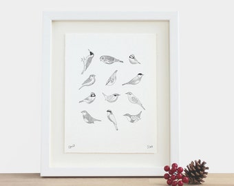 Twelve Birds - limited edition black and white bird small A5 print birthday mothers fathers day Christmas gift idea