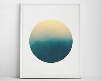 Forest Print, Forest Fog Art, Forest Circle Photo, Forest Photography, Wilderness Art, Photo Print, Rainbow Art, Forest Wall Art, Tree Print