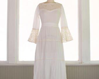 Vintage 60s/70s Bohemian Maxi Dress ~ Bell Sleeves ~ Festival Boho ~ White Crochet Lace Gauzy ~ Size XS/S