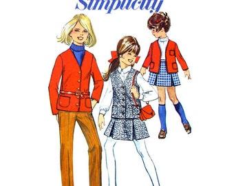 Girls Jacket, Vest, Pleated Skirt, Slim Pants Pattern Simplicity 7839 Size 7 or 8 Vintage Sewing Pattern for Girls