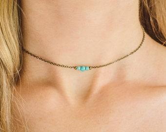 Turquoise birthstone necklace. Turquoise jewelry choker necklace. Gemstone necklace birthstone jewelry. Turquoise necklace. Gemstone jewelry
