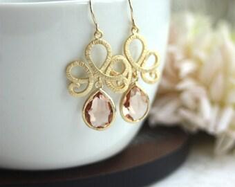 Peach Earrings, Peach Wedding Earrings, Bridesmaid Gifts, Dangle Earrings, Teardrop Swirls Earrings, Teardrop Chandelier Earring Victorian