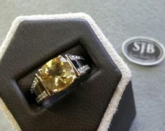 Lemon Quartz Ring, 14k Lemon Quartz Ring with .50ct in Diamond accents, 14k 2tone Gold Yellow Stone & Diamond Statement Ring, #R525, Sz5.75