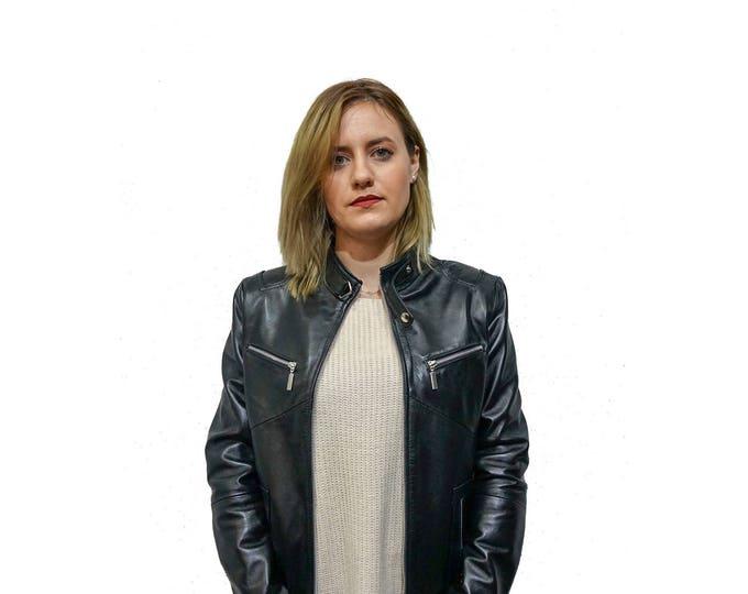 Black Leather Moto Jacket F846