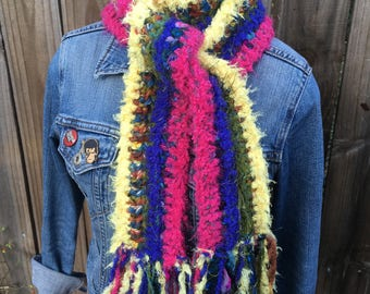 Yellow + Pink + Blue + Green Striped Long Scarf