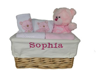 Gorgeous Personalised Basket with 5 Piece Layette Set and Cute Pink Teddy