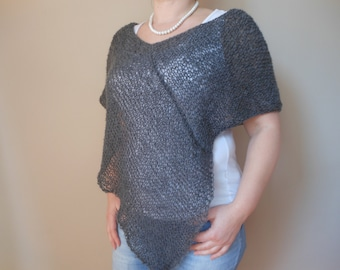 Hand Knitted Poncho Shawl Capelet Shrug Gray Loose Knit Summer Poncho