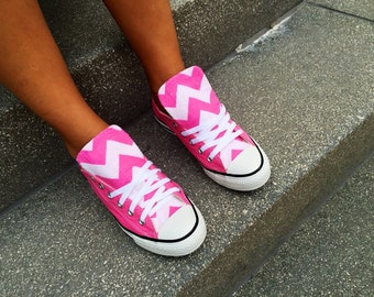 Chevron Converse Pink Shoes