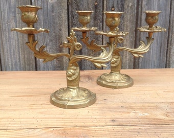 French Vintage Pair of Brass Candlestick in 2 branches Holders