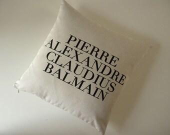 Haute Couture Designer Fashion silk screened pillow 18 inch black