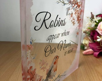 Robins Appear Large Acrylic Block