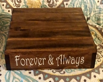 "Rustic Cake Stand, Wedding Cake Stand, ""Forever & Always"" vinyl message, Reclaimed wood, Rustic wedding"