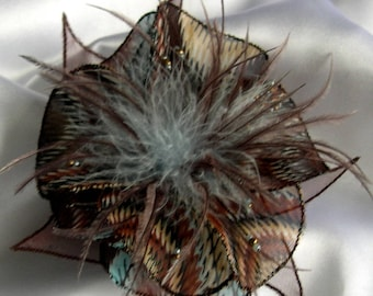 Flower brooch made of fabric, organza, feathers and pearls 220