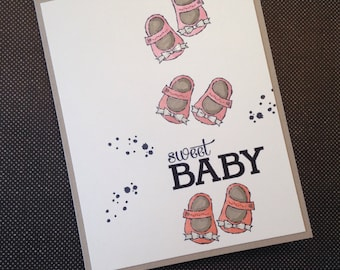 Baby girl handmade card
